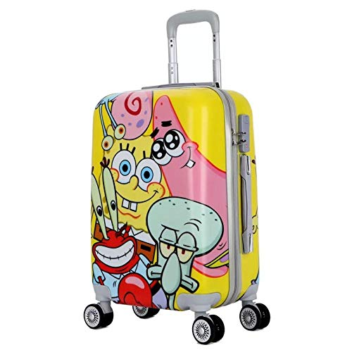 SFBBBO luggage suitcase cartoon Animation travel suitcase on wheels cabin trolley luggage bag Women rolling luggage road suitcase 20' Gold