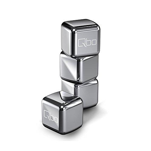 Qbo Edelstahl Kühlwürfel 4er Set - für geeiste Getränkekreationen