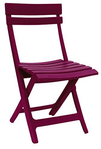 Ondis24 Gartenstuhl Klappstuhl Miami, 42 x 50 x 80 (H) cm, pflegeleicht, UV- und witterungsbeständig (Himbeere)