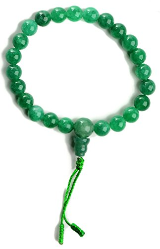 BUDDHAFIGUREN Pulsera budista con perlas de piedra de jade de 9 mm de ancho, con dorje y bolsa