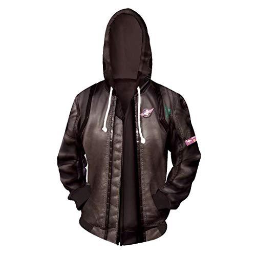 サイバーパンク2077ジャケット、メンズゲーム2077サムライプリント両面スウェットシャツウインドブレーカーコートスポーツライディングストリートウェア