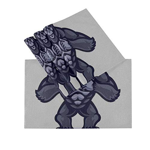 DUKAI Juego de manteles Individuales de 4, tapetes Lavables con Aislamiento termico, Mascota de Gorila de Vector de 18 x 12 Pulgadas tapetes de Mesa de Cocina Mantel Individual para Mesa de Comedor
