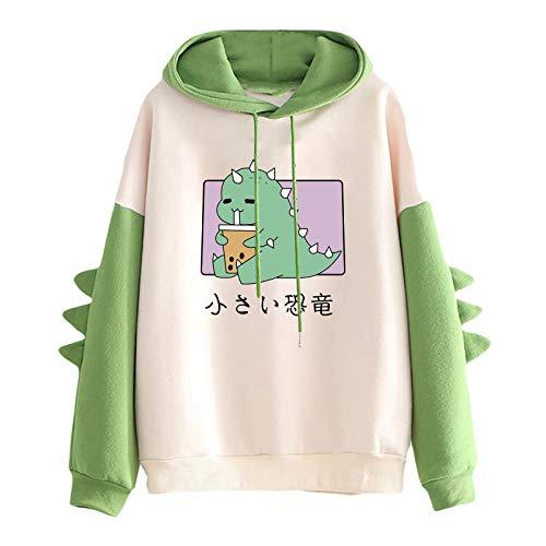 VVIA Damen Teenager Mädchen Kawaii Dino Hoodie Pullover mit Kapuze Dinosaurier Kapuzenpullover Sweatshirt Langarmshirt Oberteile Top ohne Taschen
