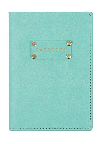 Eccolo Travel Passport Faux Leather Cover Case with Storage Pocket (Seafoam Plaque)