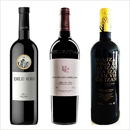 Lote Crianzas - Ribera del Duero - Vino Tinto - 3 Botellas - Estuche Regalo - Emilio Moro, Pago de los Capellanes, y Vega Izán Crianza.