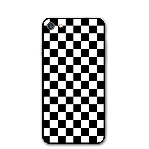 """GOU39-WCT Funda iPhone 7 Funda iPhone 8 (4.7"""") Cuadrados en Blanco y Negro Patrón a Cuadros Funda Protectora de Goma de Gel de Silicona para iPhone 7/8"""