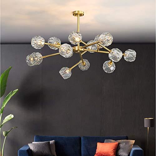 KOKOF Creatieve kroonluchter, Postmoderne kristallen kroonluchter, volledige koperen woonkamer hanglamp eenvoudige eetkamer slaapkamer droplight Nordic moleculaire plafond lamp 3 kleur lichtbron (7W)-15-100cm