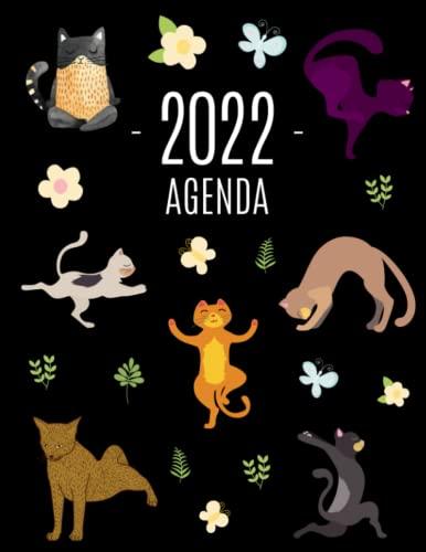 Gatos de Yoga Agenda 2022: Planificador Semanal   52 Semanas Enero a Diciembre 2022