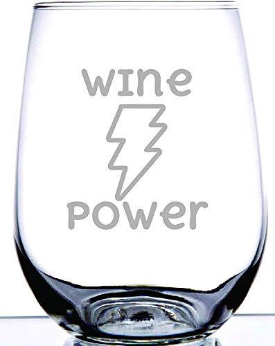 XJJ88 Wijnkracht Stemless wijnglas 12oz| Uniek cadeau voor wijnliefhebbers | Leuk cadeau voor vrienden en familie | Permanent geëtst design | Adult gag gift | Avondmok Graveren Patroon/Letters