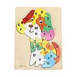 YOUTHINK 26 Letras Animal Puzzle Toy Cartoon Children Educational Jigsaw Puzzle Toy Gift Rompecabezas de Animales de Madera (Perro/Caballo/Conejo)(Dog)