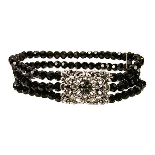 Alpenflüstern Perlen-Trachten-Armband Edda - elastische mehrreihige Trachten-Armkette mit Strass-Mittelteil, eleganter Damen-Trachtenschmuck, Perlenarmband schwarz DAB060