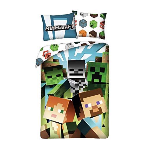 Halantex Minecraft Steve Alex Zombie Bettwäsche Kinderbettwäsche 2 TLG Set: Bettbezug 140x200 + 1 Kissenbezug, Grün, Öko-Tex, MNC-200-BL