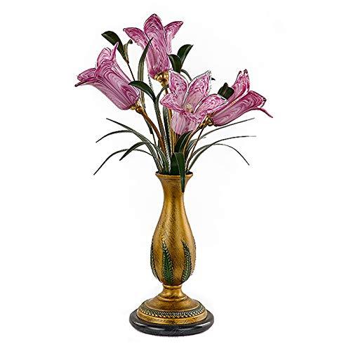 Lámpara de mesa Retro del estilo del vidrio lámpara de mesa de flores del lirio Pantalla luz de la noche, con base de hierro forjado for la cabecera de la sala Lámpara de noche ( Color : Purple )