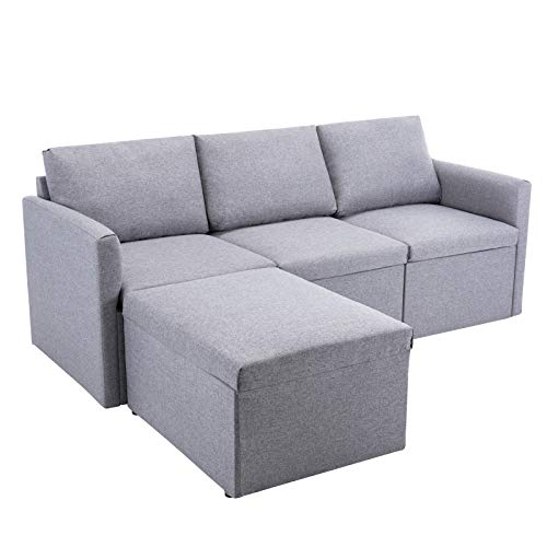 Zebery Corner Sofa 3 Seater Sofa Left or Right Chaise Couch L Shaped Fabric Settee with Ottoman Morden Sofa for Living Room