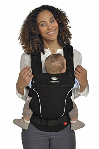 manduca First Babytrage > PureCotton Night Black < Ergonomische Babytrage I Bio-Baumwolle I Neues Stoff-Finishing (Soft & Fusselfrei) Bauch- Hüft- und Rückentrage für Kinder bis 20kg, schwarz