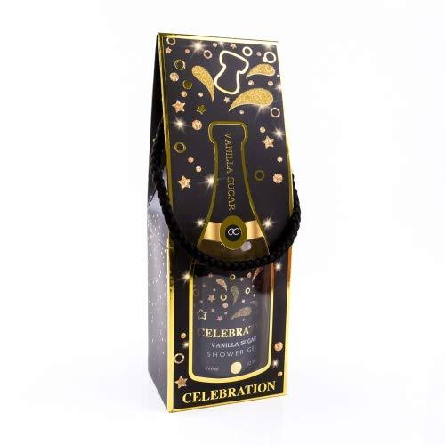 Accentra Duschgel Celebration in der Champagner-Flasche - Dusch-Seife Sekt-Flasche - Geschenkidee für Frauen und Männer - 360ml Badezusatz mit Kordel als Geschenktüte Farbe Black