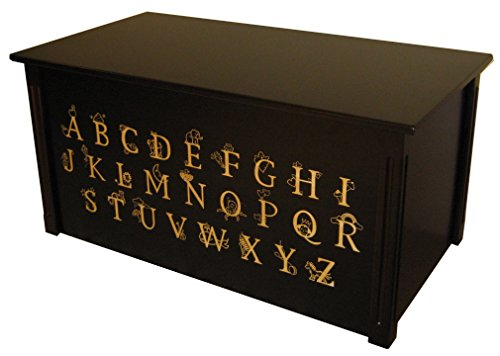 Wood Toy Box, Large ABC Toy Chest in Espresso, Thematic Font, Custom Options (Standard Base - Gold Lettering)