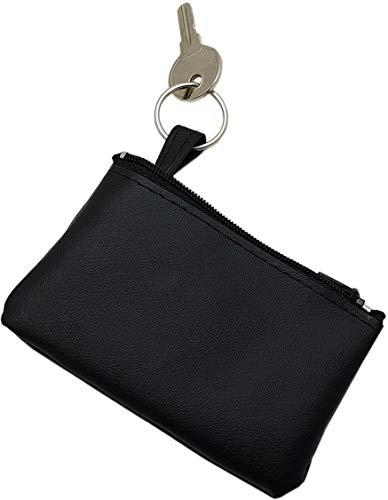myledershop Kunstleder Schlüsseltasche/Schlüsseletui/Schlüsselmäppchen/Autoschlüsselhülle mit Schlüsselring in Schwarz