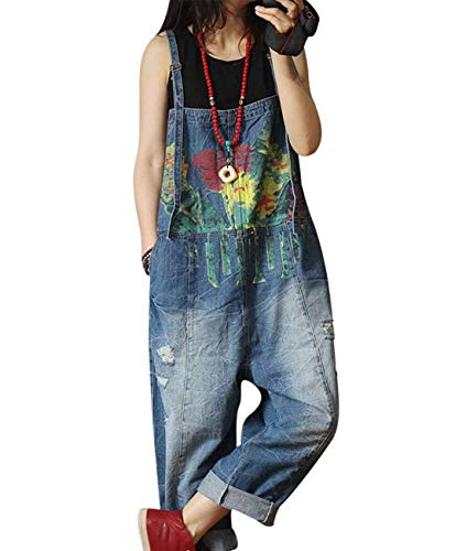 YESNO Women Casual Loose Denim Jumpsuits Rompers Boyfriend Plus Size Baggy Jeans Overalls Hand Printed Distressed Poled/Pockets P60