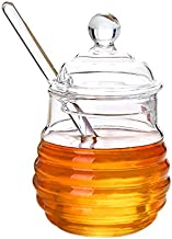 Itikky Honey Pot with Dipper and Lid Borosilicate Glass Beehive Style 9.5 fl oz