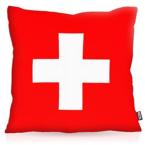 VOID Schweiz Switzerland Polyester Kissenbezug Flagge Fahne Fan-Kissen Kissenhülle Outdoor Indoor Bunt, Kissen Größe:50 x 50 cm