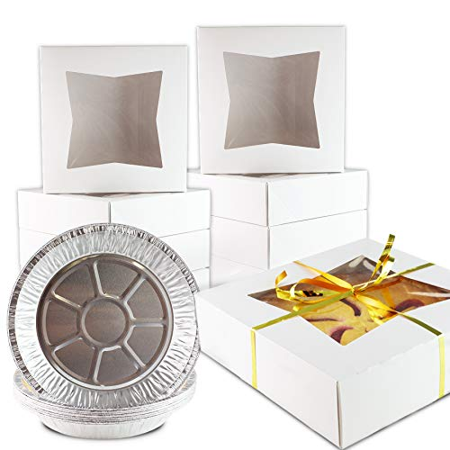 Chefible Extra Thick Durable Pie Box With Window and Pie Tins, Box Is 9x9x2.5 Inches, Perfect for Pies and Pastries, Set of 10