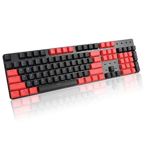 Tomuku Keycaps PBT Cover per Tastiera con Profilo OEM Traslucido Double Shot 104 Tasti per Tastiera Meccanica (rosso+nero)