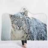 DONGZHI Albornoces Sombrero Manta con Capucha Engrosamiento Mantilla de 3D Lobo impresión con Capucha Capa Doble Cara de la Siesta Manta Manta cruda Sola Capa a Prueba de Viento Manta,D 1,78.7x60inch