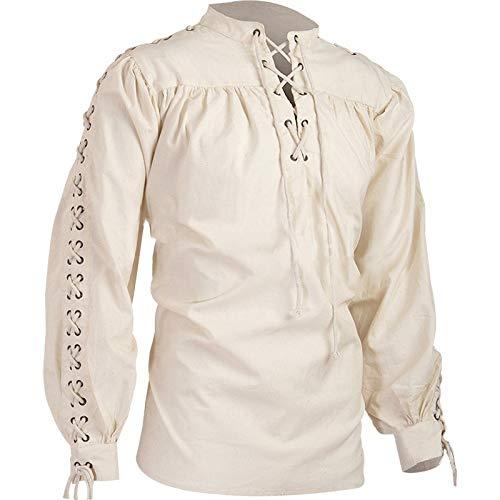 Mcaishen Costumi Medievali da Uomo Alta qualità Moda Vintage Stand Collars T-Shirt Manica Lunga Medievale Rinascimentale Camicie da Uomo.(L,White)