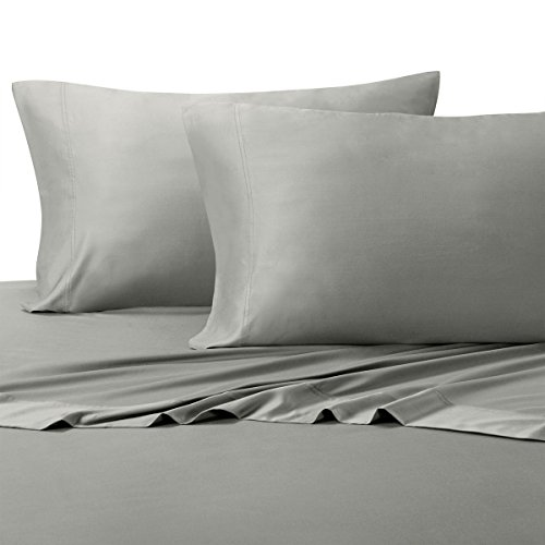 Royal Tradition 100 Percent Bamboo Bed Sheet Set, Queen, Solid Grey, Super Soft and Cool Bamboo Viscose 4PC Sheets