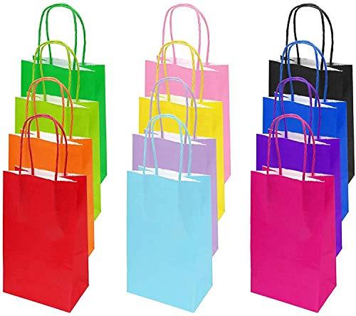 Flintronic Bolsa de Regalo, 12 PCS Bolsa de Papel, (12 x 26 x 32 cm) 12 Tipos de Color Bolsas Papel Kraft, Fiestas, Ceremonias de Graduación, Bodas, Aniversarios -Grande