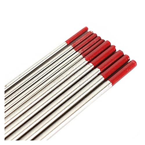 10 unids wt20 electrodo de tungsteno soldadura de tungsteno electrodos de tungsteno varillas 2% punta roja alta conductividad para soldadura de acero inoxidable (Diameter : 2.4mm)