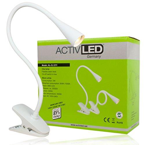 LED Klemmleuchte *Swan* von Activled in weiß Klemmlampe Leseleuchte AL-CL1211-W