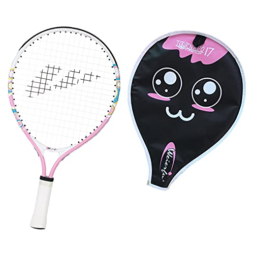 Weierfu Junior Tennis Racket for Kids Toddlers Starter Racket 17' with Cover Bag Light Weight(Strung) (17' Pink)