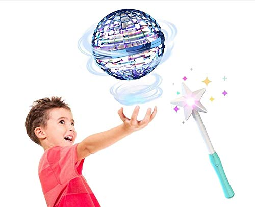 HSY SHOP Upgraded Flynova Pro Flying Spinner, Globe Shape Magic Controller Mini Drone Flying Toy, 360 ° Rotating LED Spinning Lights Suitable for Children & Adults (Color : Blue A)