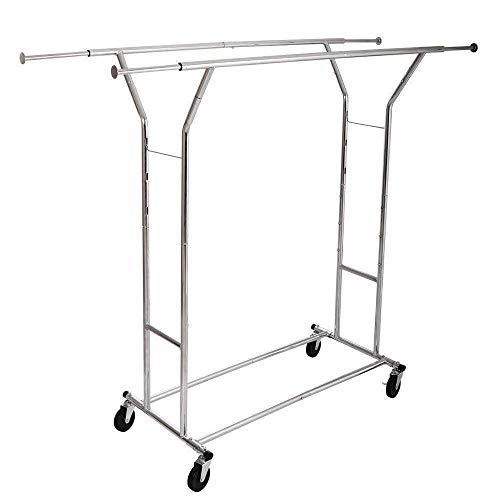 Cypressshop Rolling Clothing Drying Rack Single Double Rail Bar Portable Cloth Dryer Clothes Hanger Garments Outfits Holder Shelf Laundry Airer Hanging Home Furniture (model A)