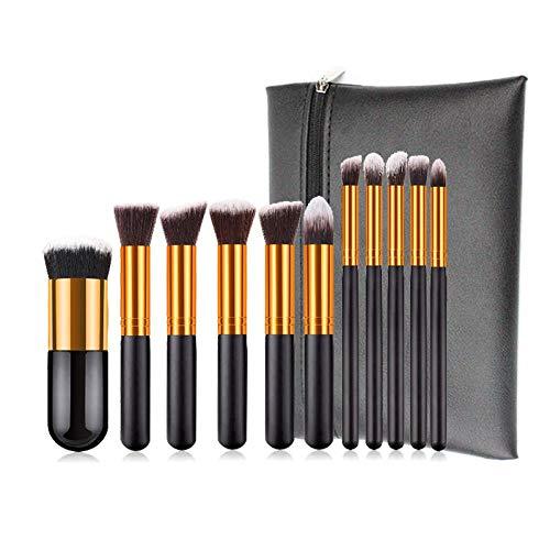 MEIMEIDA Maquillage Pinceaux Set Fondation Cosmétique Kabuki Mélange Blush Poudre Contour Pinceau Paupières Maquillage Outils De Maquillage, 11 Pcs Avec Sac