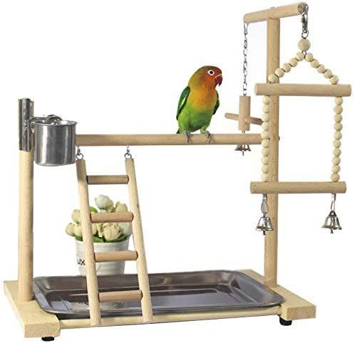Beirich Papageienspielplatz aus Kiefernholz, Vogelkäfig, Spielstall, Spielstall, Leiter mit Futterstation, Vogelspielzeug, Schaukel-Spielzeug