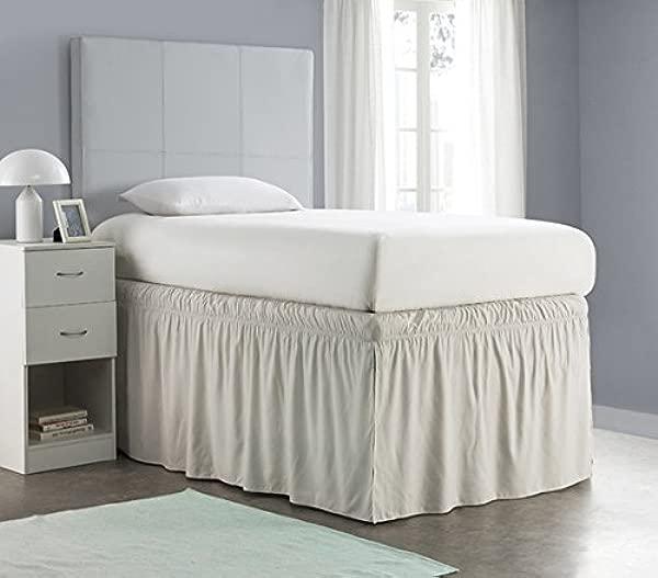 Ruffled Dorm Sized Bed Skirt Silver Birch