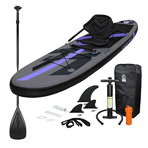 ECD Germany Tabla Hinchable Makani Paddle Surf con Asiento de Kayak Sup 305x78x15 cm Negro Stand up Paddle Board PVC/EVA hasta 120kg Diferentes Modelos Incluye Paleta Aluminio Bomba y Accesorios
