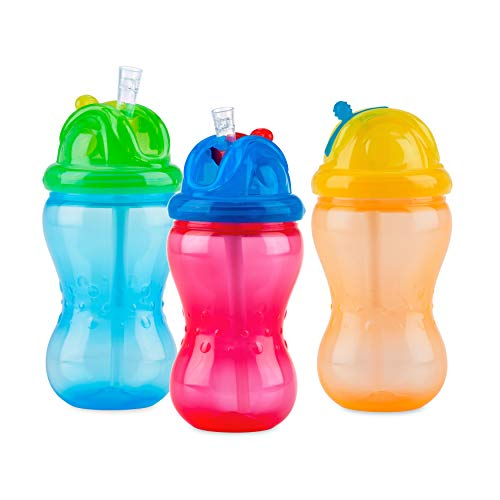 Nuby 3 Pack Boy Mega Flip It Cup with Soft Flex Straw, 12 Oz
