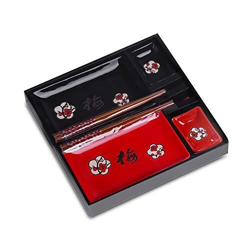 Panbado Set Sushi in Porcellana Ceramica Stile Giapponese Nero e Rosso, Piatti da Sushi, Ciotole Salse, Bacchette, Poggiabacchette - Set 2 Pezzi per 2 Persone