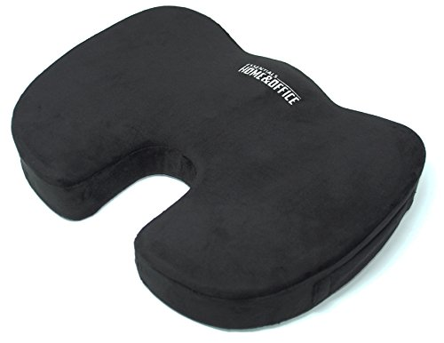 Seat Cushion for Back Pain and Sciatica Relief - Orthopedic Memory Foam Office Chair and Car Seat Cushion