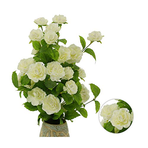 """YNYLCHMX White Aritifical Flowers, Fake Flower, Floral Stems Artificial Rose Greenery Branches for Wedding Bouquets Centerpieces, Floral Arrangements, Vase, 27"""", 2 Branches Silk Flower Arrangements"""