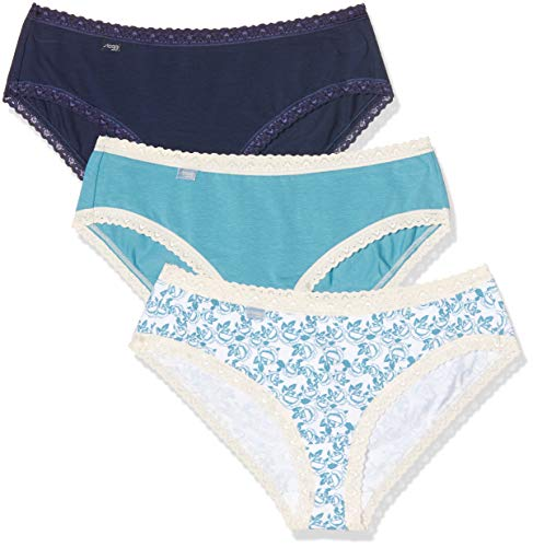 Sloggi Damen 24/7 Weekend C3P Hipster, Mehrfarbig (White Dark Combination M016), 38 (3erPack)
