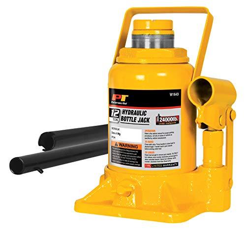 Performance Tool W1643 Heavy Duty Shorty Bottle Jack for Vehicle Maintenance, 12 Ton Capacity (24,000 lbs)