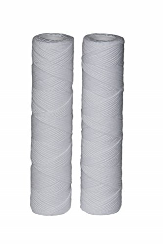 EcoPure EPW2S String Wound Whole Home Replacement Water Filter-Universal Fits Most Major Brand Systems (2 Pack), 2 Count (Pack of 1), White