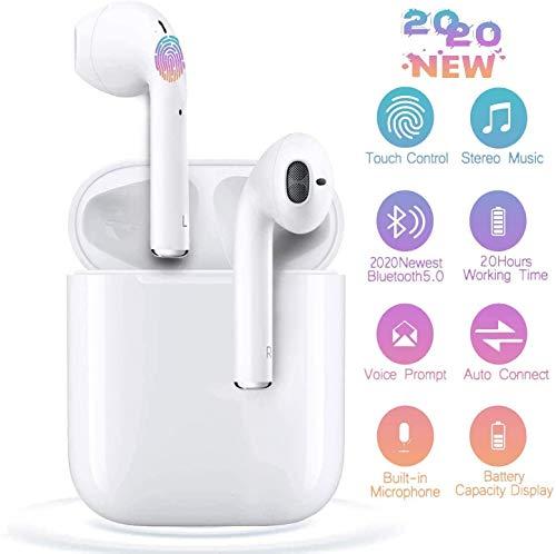 Auriculares Bluetooth 5.0 Inalámbricos TWS i12 Touch Control y Pop-Up Conexión Emergente Sonido Estéreo 3D con IPX7 Waterproof Emparejamiento Automático para Juegos Trabajo y Deportes Viaje