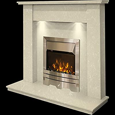 Cream Marble Stone Modern Wall Surround Electric LED Fireplace Suite Silver Electric Fire & Spotlights