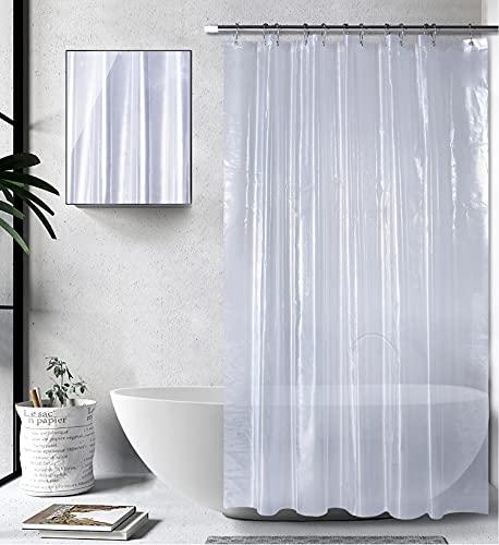 Amazon Brand - Umi Duschvorhang 200x180cm, Shower Curtains Antibakteriell Vorhang für Dusche & Badewanne, Badvorhänge, Wasserdichter Badezimmervorhang, Duschvorhänge - Transparent